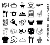 cook icons. set of 25 editable... | Shutterstock .eps vector #1013076865