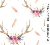 watercolor antler deer flower... | Shutterstock . vector #1013077582