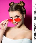 young beautiful playful woman... | Shutterstock . vector #1013083612