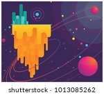 minimal space planets  stars  | Shutterstock .eps vector #1013085262