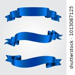ribbon banner set. blue ribbons.... | Shutterstock .eps vector #1013087125