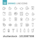 drinks  glasses and bottles  32 ... | Shutterstock .eps vector #1013087308
