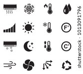 air conditioning icons. black...