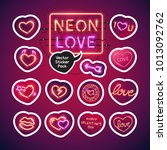 valentines day glowing neon... | Shutterstock .eps vector #1013092762