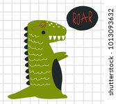funny print with roaring... | Shutterstock .eps vector #1013093632