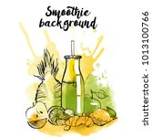 smoothie. watercolor vector... | Shutterstock .eps vector #1013100766