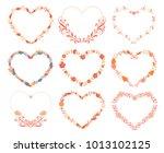 set of nine decorative hearts....   Shutterstock .eps vector #1013102125
