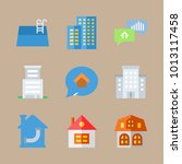 icon real estate with pool ... | Shutterstock .eps vector #1013117458