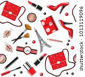 beautiful female items of red... | Shutterstock .eps vector #1013119096