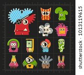 cute colorful monsters on black.... | Shutterstock .eps vector #1013119615