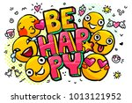 be happy word bubble. message... | Shutterstock .eps vector #1013121952