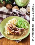 bangers and mash. baked sausage ... | Shutterstock . vector #1013125582