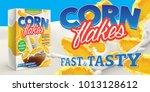 corn flakes advertising poster... | Shutterstock . vector #1013128612