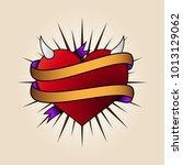 heart tattoo in old school style | Shutterstock . vector #1013129062