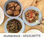 food on a wooden table | Shutterstock . vector #1013130775