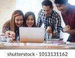 happy business team enjoy good... | Shutterstock . vector #1013131162