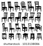 set of wooden chairs. | Shutterstock .eps vector #1013138086
