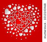 beautiful paper cut out heart... | Shutterstock .eps vector #1013143468