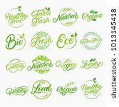 set of organic  local  fresh ... | Shutterstock . vector #1013145418