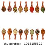 different seasonings and spices ... | Shutterstock . vector #1013155822