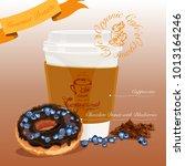 gourmet donut meal. chocolate...   Shutterstock .eps vector #1013164246