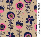 seamless pattern with hand... | Shutterstock .eps vector #1013168308