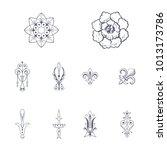 fleuron ornament victorian set | Shutterstock .eps vector #1013173786