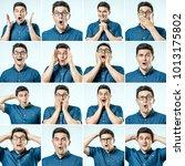 surprised guy. set of handsome... | Shutterstock . vector #1013175802