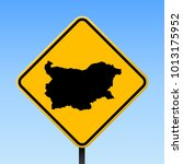 bulgaria map road sign. square... | Shutterstock .eps vector #1013175952