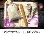 natural gemstones  white sage ...   Shutterstock . vector #1013179432
