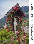 roses overgrown wooden cross in ... | Shutterstock . vector #1013181055