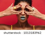 multicolor image of young woman ... | Shutterstock . vector #1013183962