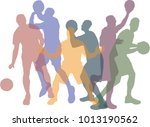 colorful set of basketball... | Shutterstock .eps vector #1013190562