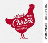 chicken silhouette and hand... | Shutterstock . vector #1013191582