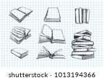 books vector collection. pile... | Shutterstock .eps vector #1013194366