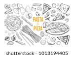 pasta and pizza set. italian... | Shutterstock .eps vector #1013194405
