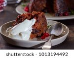 piece of christmas pudding with ...