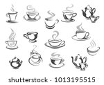 coffee and tea cups icons for...   Shutterstock .eps vector #1013195515
