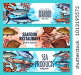 seafood and fresh fish... | Shutterstock .eps vector #1013195572