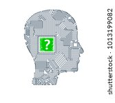 circuit board head | Shutterstock . vector #1013199082