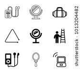 portable icons set of 9