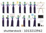 flat muslim woman wearing...   Shutterstock .eps vector #1013213962