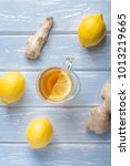 a cup of ginger tea with lemon... | Shutterstock . vector #1013219665