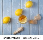a cup of ginger tea with lemon... | Shutterstock . vector #1013219812