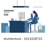 woman working on computer... | Shutterstock .eps vector #1013228722