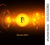 bitcoin symbol and price chart. ... | Shutterstock .eps vector #1013232382