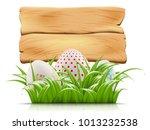 easter eggs hiding in green... | Shutterstock . vector #1013232538