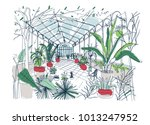 freehand drawing of interior of ... | Shutterstock .eps vector #1013247952