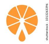 orange cut in half  one drop of ... | Shutterstock .eps vector #1013263396