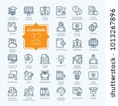 E-learning, online education elements - minimal thin line web icon set. Outline icons collection. Simple vector illustration. | Shutterstock vector #1013267896
